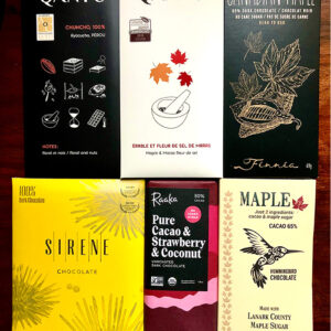 variety of sugar free and maple flavour craft chocolate bars in gift pack