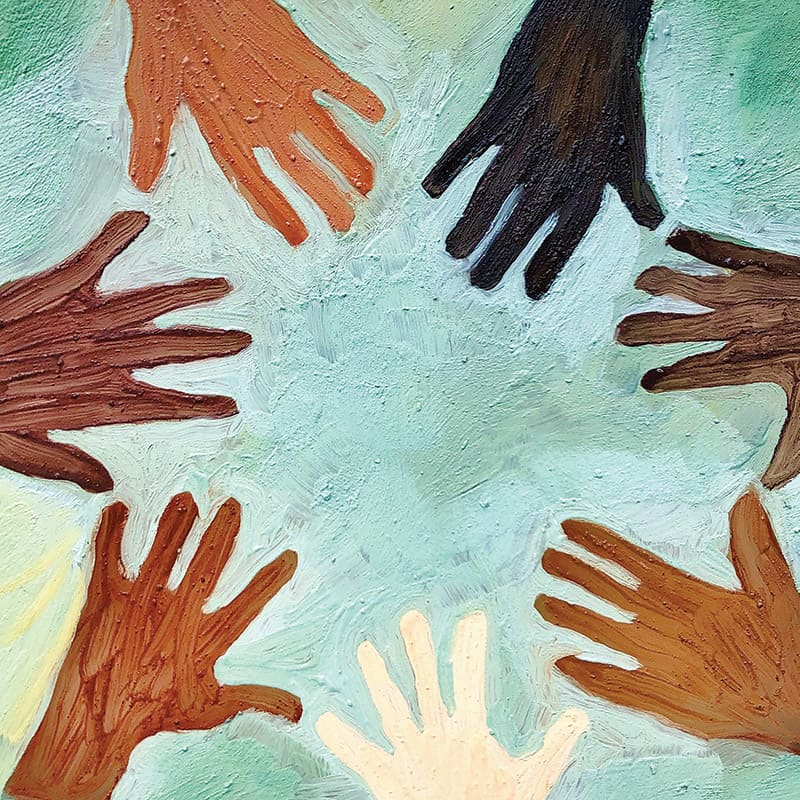 Circle of many hands around the world - painting from Cacao to Chocolate book